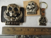 BELT BUCKLE WITH KEY CHAIN AND PIN