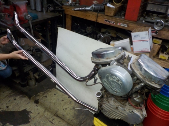 "PANHEAD CHOPPER ""NEW"" FISHTAIL UPSWEEP PIPES #48356"