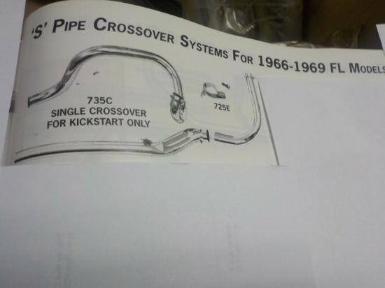 """SHOVELHEAD """"NEW"""" PAUGHO 1.75"""" 'S' PIPE CROSSOVER SYSTEM FOR 1966-69 MODELS #735C"""